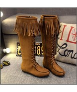Tassel Fringe Suede Camel Faux Leather Lace Up Zip Up Tall Moccasin Trai... - $98.95