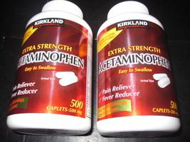 Non Aspirin Extra Strength Acetaminophen 2-500 Caplet Bottles Kirkland - $14.09