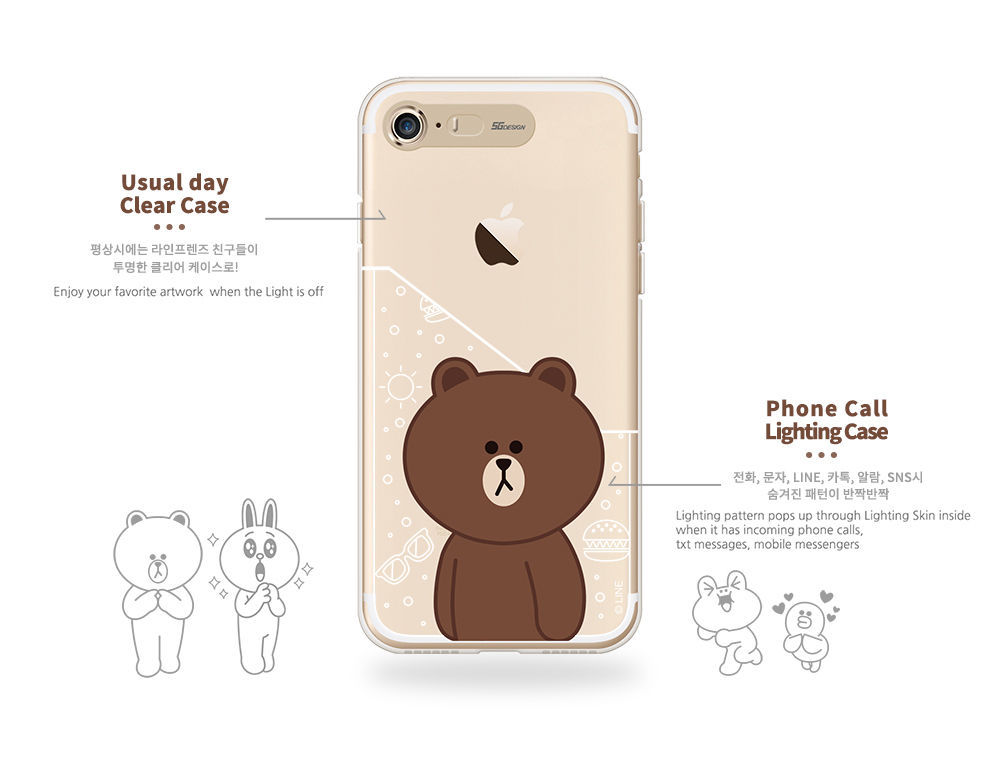 LINE Friends Light UP Clear Case V.2 iPhone 7/7 Plus Soft Cover Mobile Skin Acc