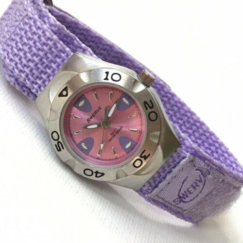 Vintage Swerve Women's Silver Purple Nylon Strap Watch Fresh Battery EXCELLENT!
