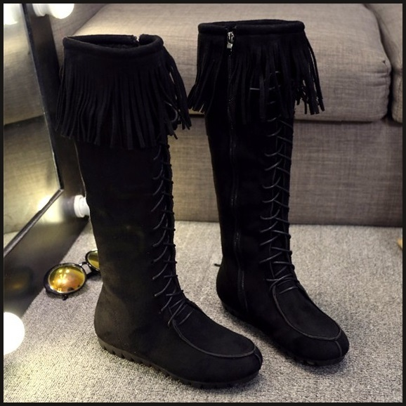 Tassel Fringe Black Suede Faux Leather Lace Up Zip Up Moccasin Trail Boots