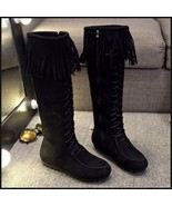 Tassel Fringe Black Suede Faux Leather Lace Up Zip Up Moccasin Trail Boots - $98.95