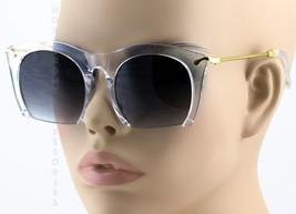 CLASSIC VINTAGE RETRO Style SUN GLASSES Transparent & Gold Half Cut Off ... - $8.86