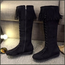 Tassel Fringe Black Suede Faux Leather Lace Up Zip Up Moccasin Trail Boots image 2