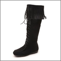 Tassel Fringe Black Suede Faux Leather Lace Up Zip Up Moccasin Trail Boots image 3