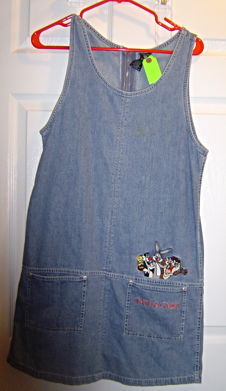 Primary image for Warner Bros. Denim Jumper Dress Women's Size S That's all Folks! Bugs and Gang