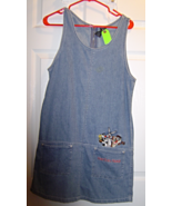 Warner Bros. Denim Jumper Dress Women's Size S That's all Folks! Bugs an... - $29.99