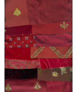 Victorian Crazy Quilt Kit Shades of Red Brocade Silk Velvet Embroidered ... - $19.99