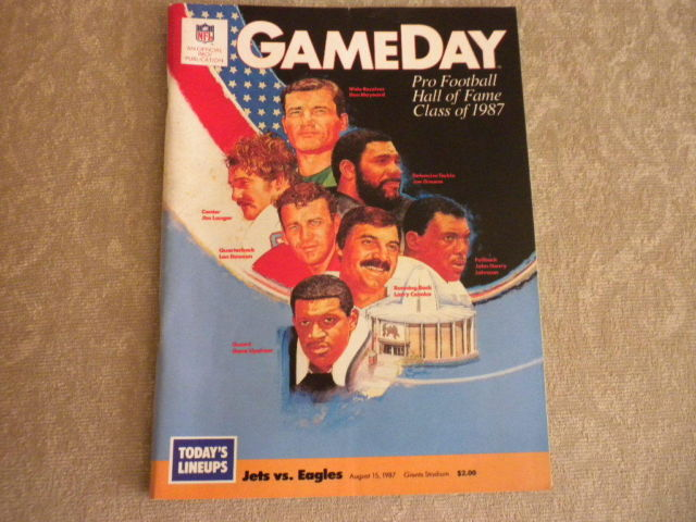 NFL GAME DAY Mag 1987 Hall of Fame inductees 1987 Jets vs Eagles Giants Stadium