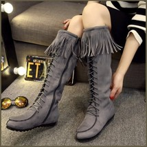 Tassel Fringe Gray Suede Faux Leather Lace Up Zip Up Tall Moccasin Trail Boots