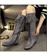 Tassel Fringe Gray Suede Faux Leather Lace Up Zip Up Tall Moccasin Trail... - $98.95
