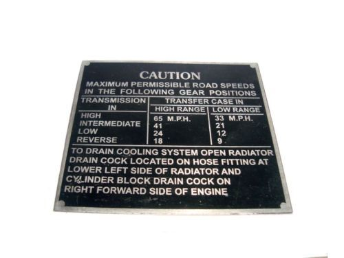 JEEP WILLYS MB GPW 44-45 FORD CAUTION ROAD SPEED PLATE ALUMINUM @ ROYAL SPARES