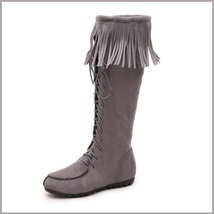 Tassel Fringe Gray Suede Faux Leather Lace Up Zip Up Tall Moccasin Trail Boots image 3