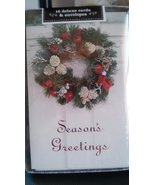 Season's Greetings Wreath Door Deluxe Christmas Cards with Envelopes 16 ... - $9.89
