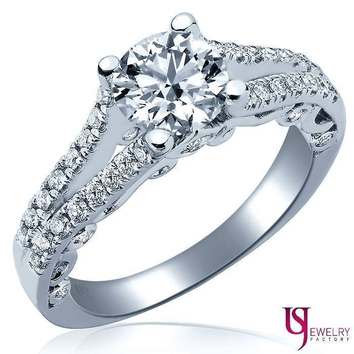 Primary image for 14K White Gold Scroll Vintage Round Cut 1.02 Carat Diamond Engagement Ring E/VS1
