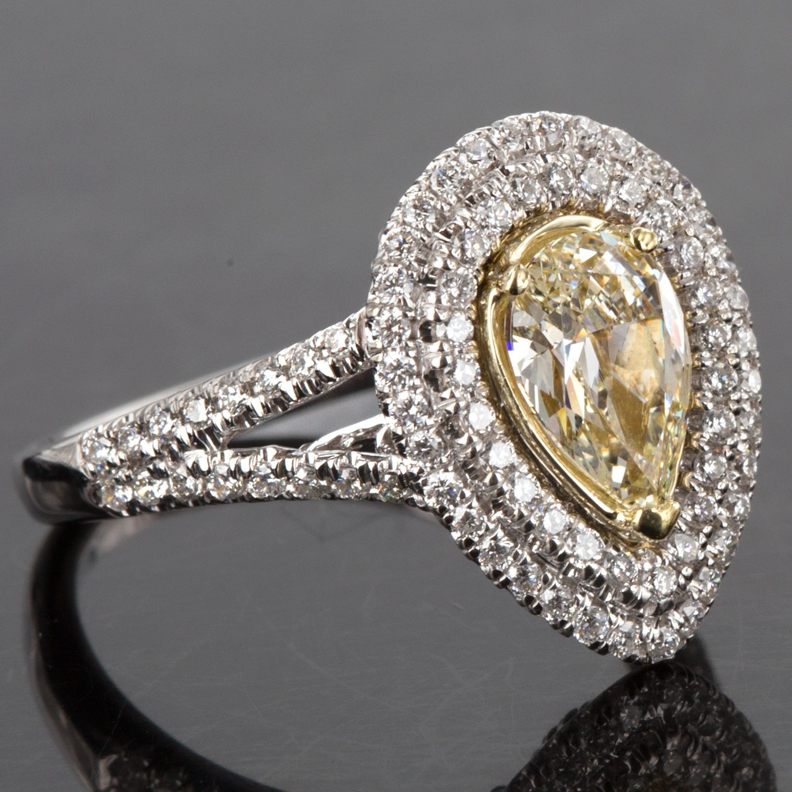 Primary image for 1.76 TCW Pear Yellow Diamond Engagement Ring Split Shank Halo 18K Two Tone Gold