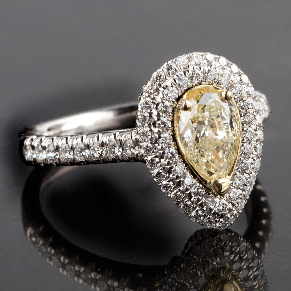 Primary image for 1.52 TCW Pear Cut Yellow Diamond Double Halo Engagement Ring 18k Two Tone Gold