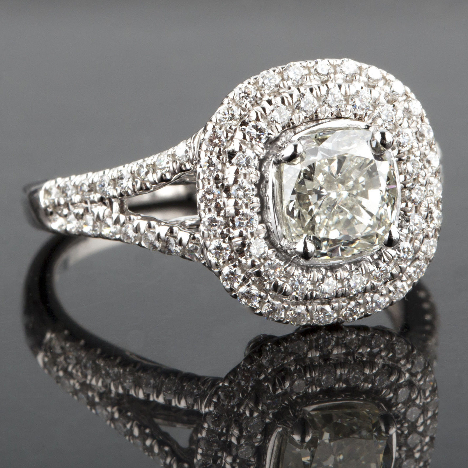 Primary image for 1.87 TCW Cushion Cut Diamond Engagement Ring Micro Pave18K White Gold