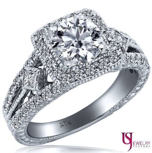 Primary image for 1.85 ct Halo Set Round Cut Diamond Engagement Ring Vintage Style 14k White Gold