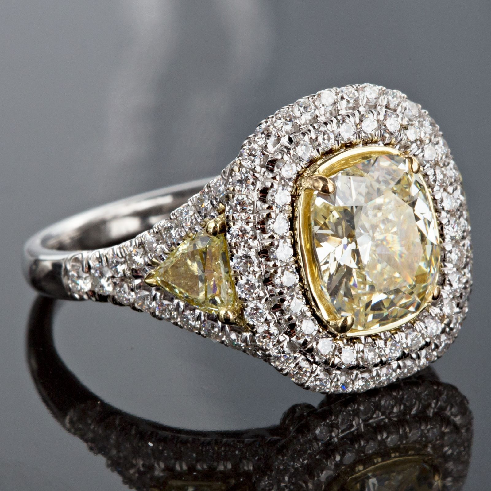 Primary image for 3.43 TCW Cushion Yellow Diamond Engagement Ring Halo Trillion 18k Two Tone Gold