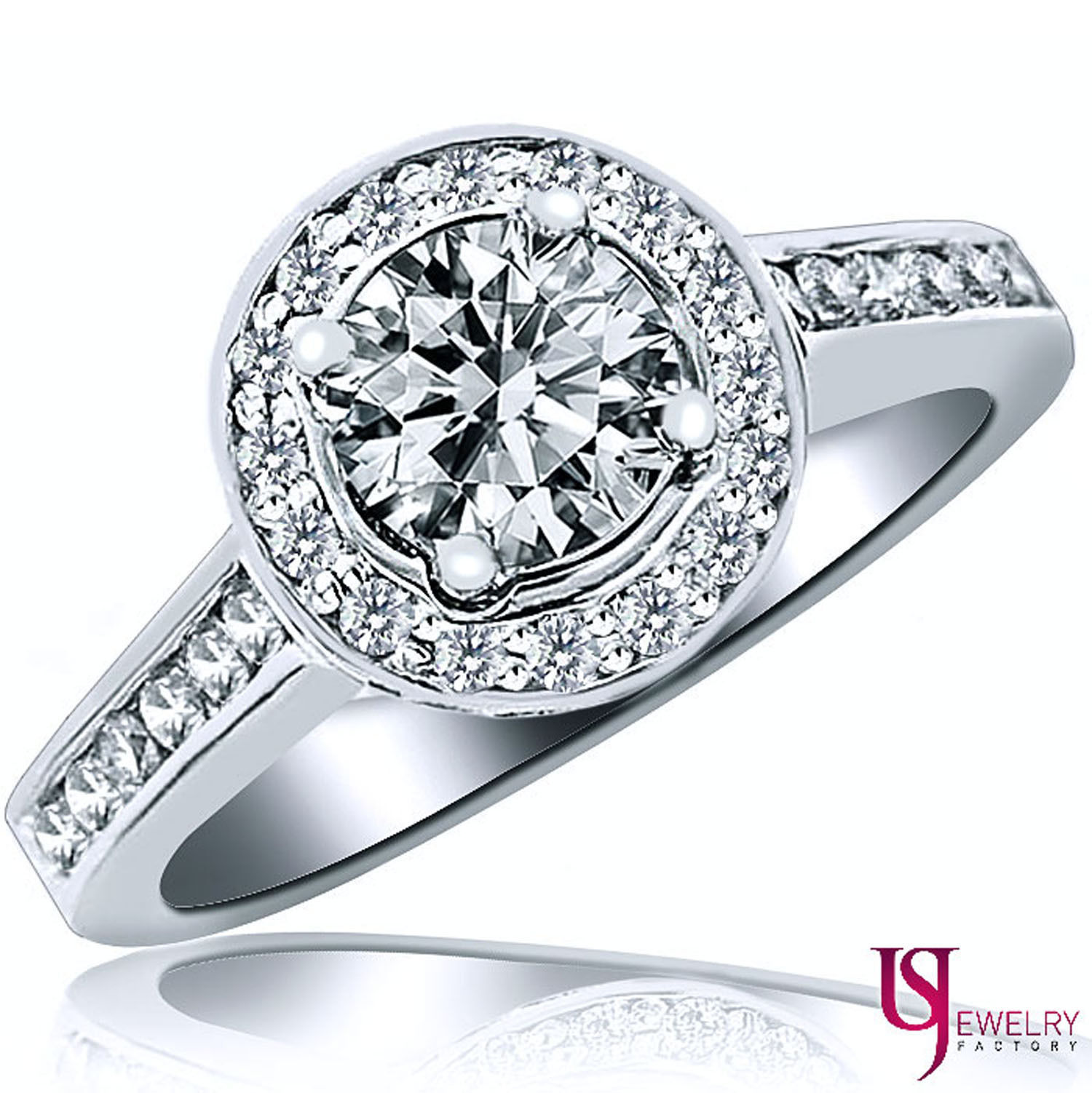 Primary image for 1.64ct Round Cut Halo Set Surprise Diamond Engagement Ring 14k White Gold Shank