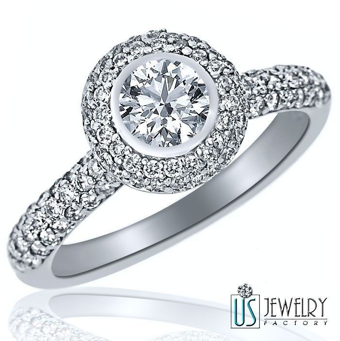 Primary image for Natural Round Cut Halo Set Diamond Engagement Ring 14k Gold Band 1.38ct F/G-VS2
