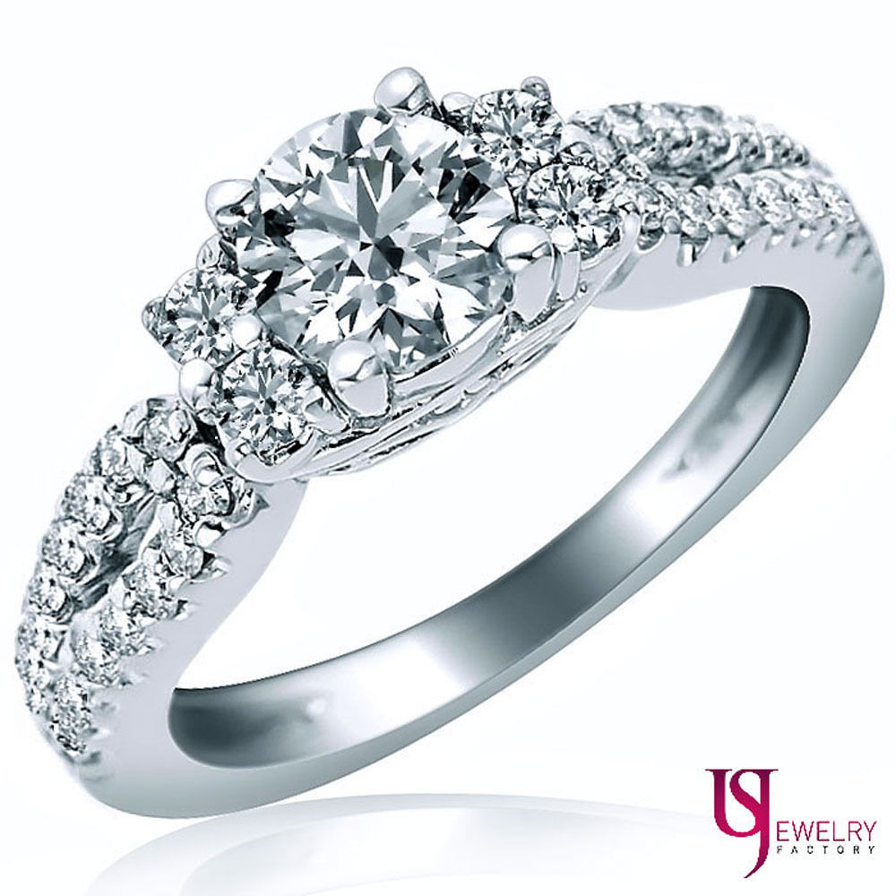 Primary image for Thee Stone Round Cut Diamond Engagement Ring 18k White Gold Band 1.72ct F-SI1