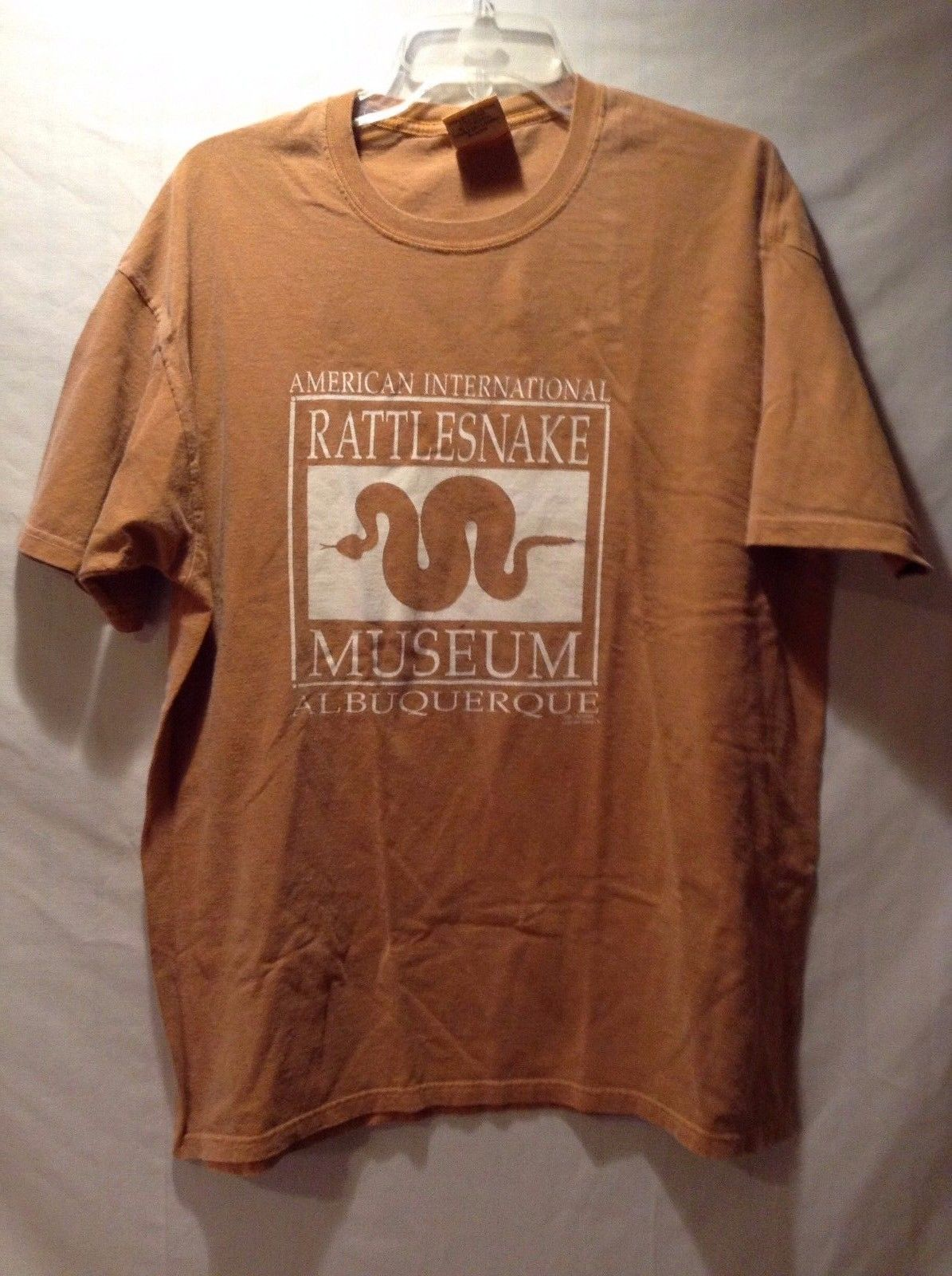 American National Rattlesnake T-shirt Tee Orange White 100% Cotton Authentic