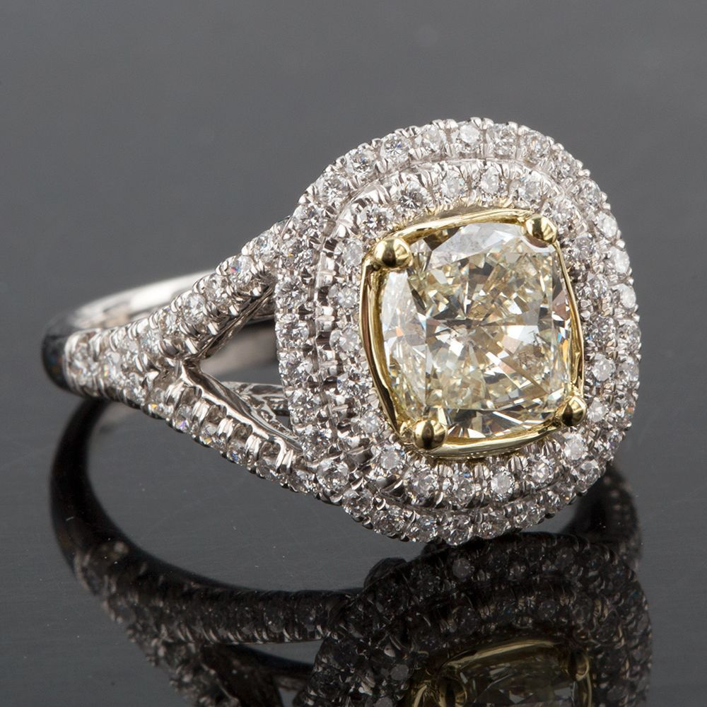 Primary image for 2.18 TCW Fancy Yellow Cushion Cut Diamond Engagement Split Shank Ring 18K Gold