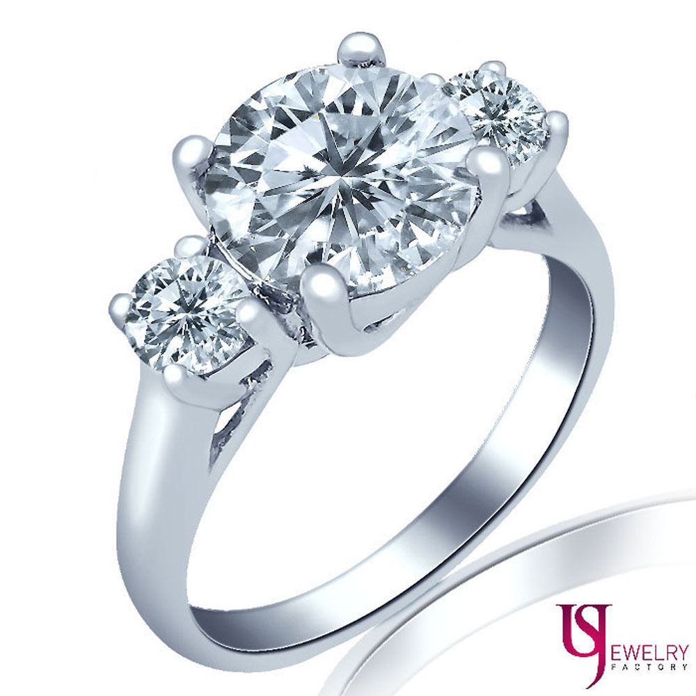 Primary image for Three Stone Round Cut 2.47 Carat Diamond Engagement Ring 18K White Gold G/H-VS1