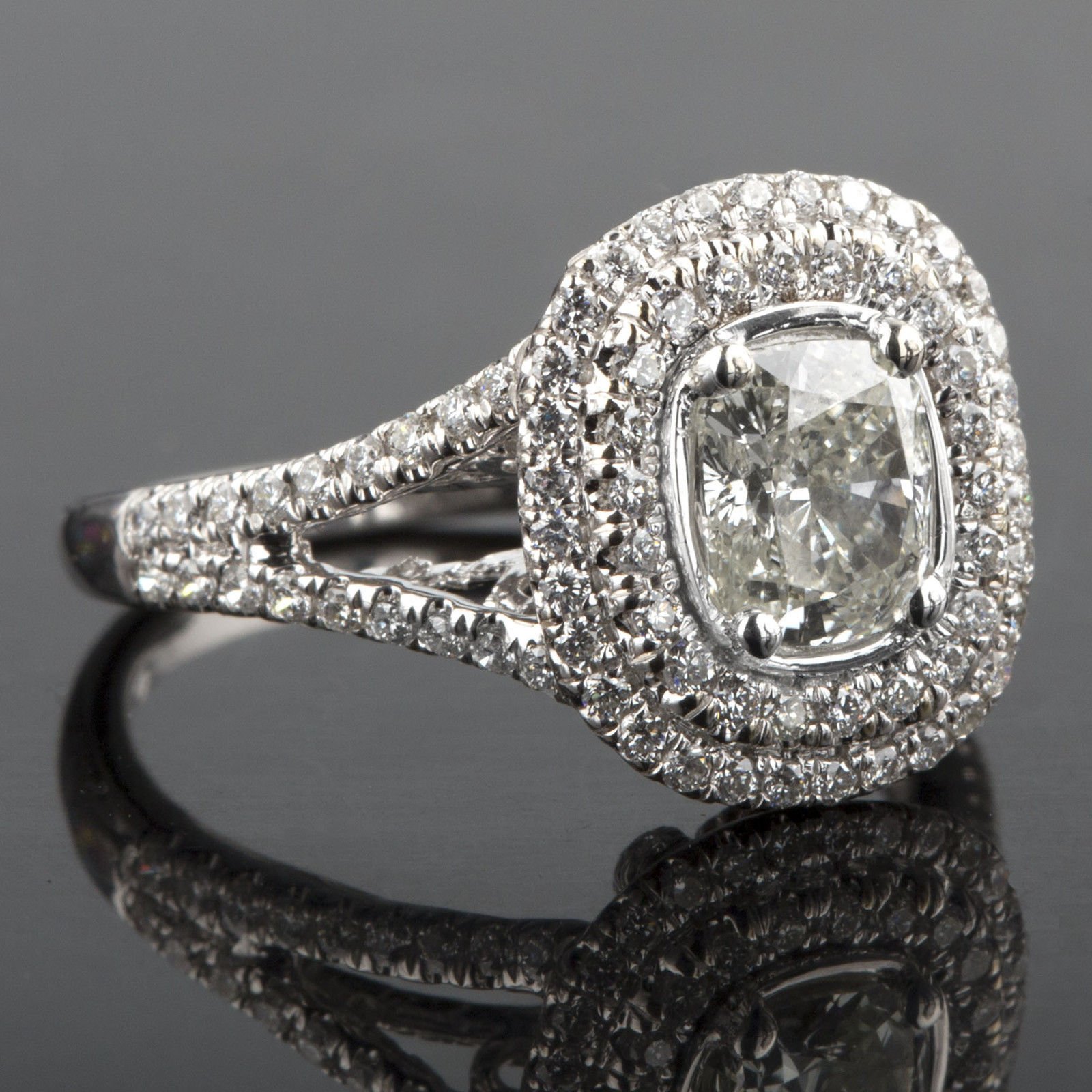 Primary image for 1.63 TCW Cushion Cut Diamond Engagement Ring Split Shank 18k White Gold