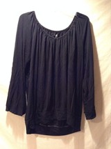Women's Black A.N.A. Long Sleeved Shirt Size 1XL Loose Fit Adorable - $39.59