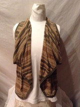 Women's Chaps Petite Large Cardigan Vest Sleeveless Shirt Olive Green Tan Brown
