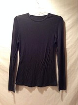 Women's Cuddi Duds Size Small Black Long Sleeve Shirt Spandex Blend Good Used