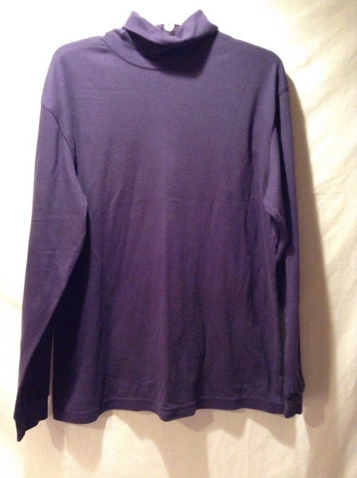 Women's L.L. Bean Cotton Poly Blend Purple Turtle Neck Long Sleeved Size Large