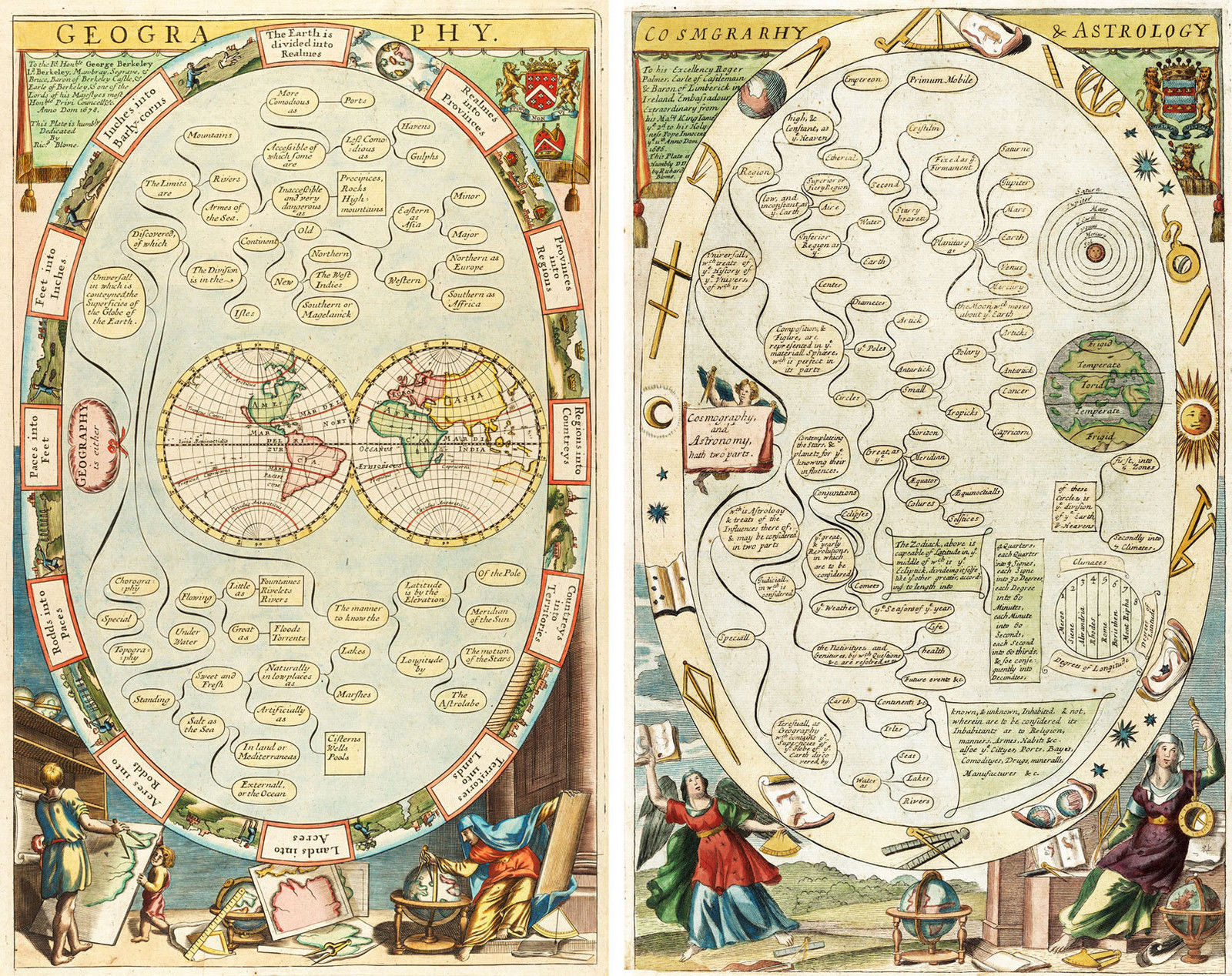Primary image for Set of 2 1686 Map of the World Blome Astronomy Cosmography Geography Art Reprint