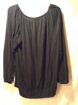 Women's Black A.N.A. Long Sleeved Shirt Size 1XL Loose Fit Adorable image 3