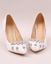 Sliver Crystal Wedding Heels,White Rinestone Bridal Shoes,Ivory Bridal H... - £40.21 GBP+