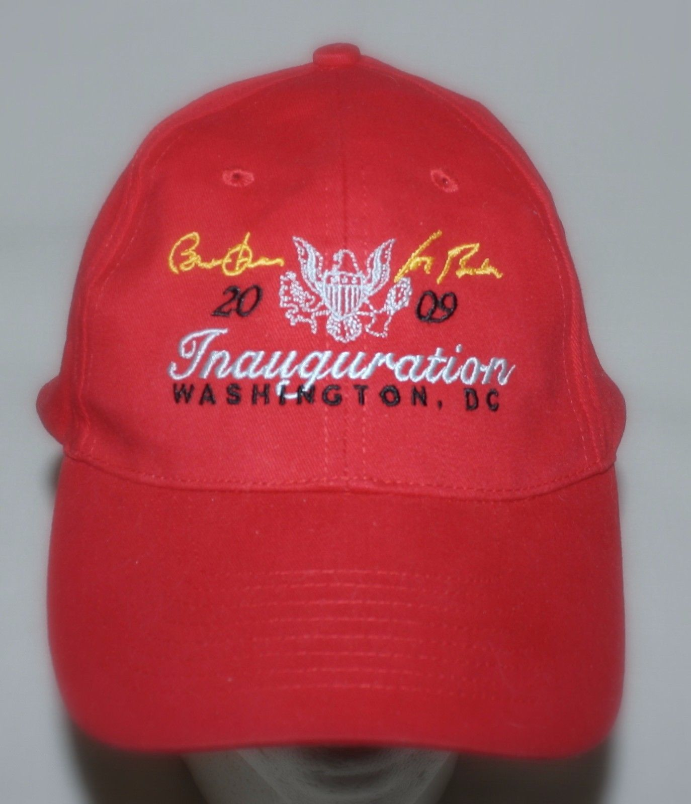 Primary image for 2009 Inauguration Hat President Obama Biden Washington DC Red Cap 1 Size Velcro