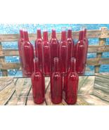 12 Red NEW 750ml Wine Bottles Beer Weddings Yard Decor BottleTree Flower Vase - $34.23