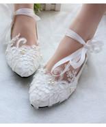 Women Bridal flats shoes,Ivory White Lace up Wedding shoes Size UK 2,3,4... - £39.09 GBP
