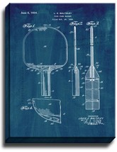 Ping Pong Racket Patent Print Midnight Blue on Canvas - $39.95+