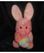"12"" VINTAGE ANIMAL FAIR PINK BUNNY RABBIT W RAINBOW EASTER EGG STUFFED P... - $32.73"