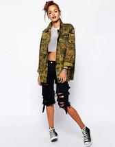 Vintage Women's F2 German camo jacket coat surplus army military oversized - $15.00+