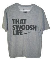 Nike That Swoosh Life Short Sleeve Dri Fit T Shirt Mens Gray M Medium - $9.89