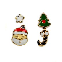 SET OF 4 CUTE CHRISTMAS EARRING Gold Plate Enamel Santa Claus Tree Pair ... - $7.88