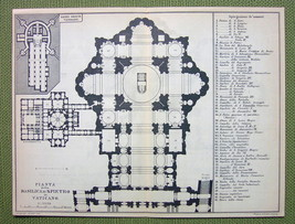 ITALY Rome Plan of St. Peter's Basilica Archite... - $7.43