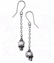 Deadskulls Hanging Skulls Chain Earrings Surg Steel Hooks Alchemy Gothic... - $18.00