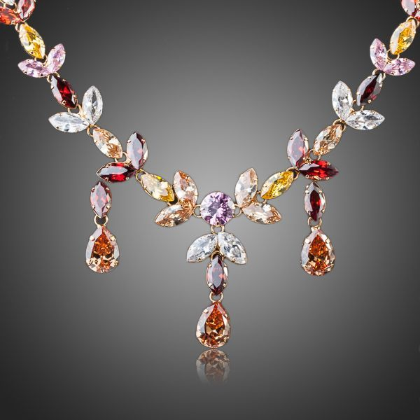 Primary image for 18K Gold Plated Multicolour Stellux Crystal Water Drop Necklace and Earring Set