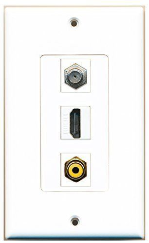 Primary image for RiteAV  1 Port HDMI 1 RCA Yellow 1 Coax Cable TV- F-Type Wall Plate Decorative
